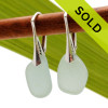 Pale seafoam green sea glass pieces shaped only by the sea, sand and time are suspended on solid sterling leverback earrings. SOLD - Sorry these Sea Glass Earrings are NO LONGER AVAILABLE!