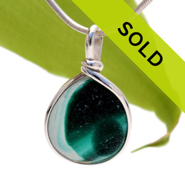 Stunning LARGE mixed green English sea glass from Seaham England set in our Original Wire Bezel Setting.