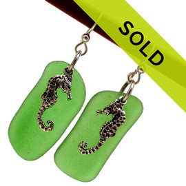 A TOP quality pair of LARGE Genuine Certified Sea Glass earrings in a Bright Vivid Green Sorry this sea glass jewelry selection has been sold!