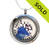 Genuine blue sea glass combined with a vintage sea fan and a solid sterling HAPPY ANNIVERSARY circle charm, in this stainless steel locket. SOLD - Sorry this Sea Glass Locket is NO LONGER AVAILABLE!
