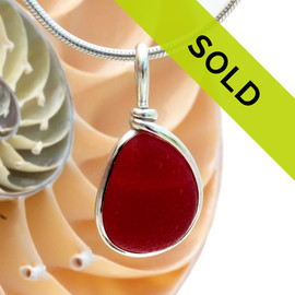 Ultra rare mixed red sea glass in our Original Wire Bezel© setting in silver. Sorry this piece has sold!