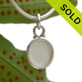 Perfect Oval sea glass set in a sterling cinch bezel. Great for any charm bracelet or can be converted to a pendant or anklet. SOLD - Sorry this Sea Glass Necklace is NO LONGER AVAILABLE!
