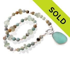 3 in One Sea Glass and Amazonite English Sea Glass Necklace In Sterling Silver. Sorry this one of a kind sea glass jewelry piece is no longer available.
