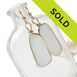 Large and LONG natural UNALTERED white sea glass earrings set in our Original Wire Bezel© setting. Sorry this sea glass jewelry item is no longer available!