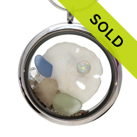 Sorry October Beach Birthday- Genuine Sea Glass Locket With Sandollar & Real Opal  has SOLD