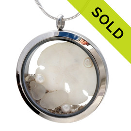 Genuine pure white sea glass pieces combined with a real sandollar, fresh water pearls and real beach sand in this JUMBO 35MM stainless steel locket. Great gift for June Birthdays!!!