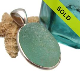 Aqua Green Sea Glass In Sterling Deluxe Wire Bezel©