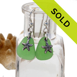 Sea Glass Earrings In Green on Sterling Silver With Starfish Charms