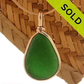 A Perfect piece of natural sea glass in my Original Gold Wire Bezel© a simple design that lets all the beauty of this glass shine. SOLD - Sorry this Sea Glass Pendant is NO LONGER AVAILABLE!