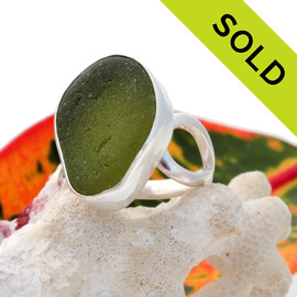 A stunning vivid peridot green sea glass piece set in sterling and fine silver and Sterling Silver. SOLD - Sorry This Sea Glass Ring Is NO LONGER AVAILABLE!