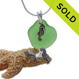 Vivid green sea glass is combined with a solid sterling bail and seahorse sterling charms in this lovely sea glass set. SOLD - Sorry this Sea Glass Set is NO LONGER AVAILABLE!