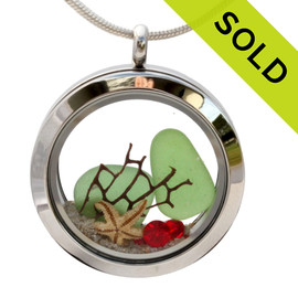 Vivid Green sea glass and vivid bright  red and green gemstones make this a great locket necklace for the holidays. SOLD - Sorry this Sea Glass Locket is NO LONGER AVAILABLE!
