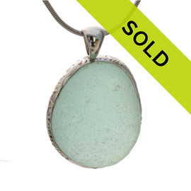 Top quality piece of bubbled aqua green Genuine Sea Glass in our Deluxe Wire Bezel© setting. A stunning HUGE sea glass necklace pendant!