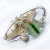 Custom sea glass bangle bracelet with customer upplied sea glass