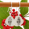 Airy and light pure white sea glass earrings in sterling with sterling lobster charms