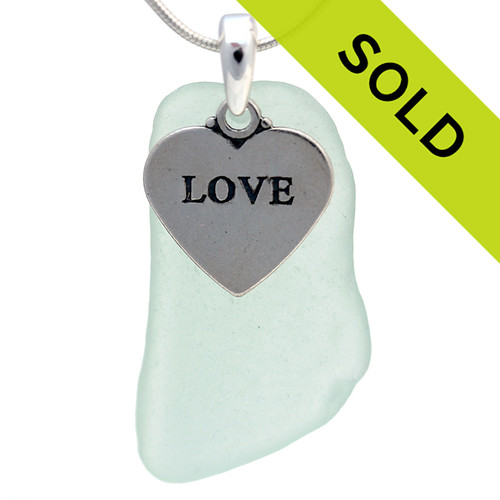 This seafoam green sea glass necklace with LOVE charm has been SOLD!