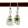 Natural Seafoam Green Sea Glass Earrings On Sterling W/ Starfish Charms These are done in a simple drilled setting to let these true sea glass gems.
