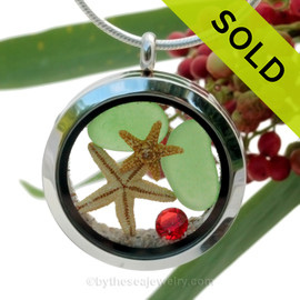 Coastal Christmas- Green Sea Glass With Tow Real Starfish, Red Gem & Real Sand Locket. SOLD - Sorry this Sea Glass Locket is NO LONGER AVAILABLE!