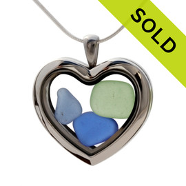 Seafoam Green and Carolina and Cobalt Blue sea glass heart combined a large silver heart in this sea glass locket necklace. Sorry this Sea Glass jewelry selection is no longer available.