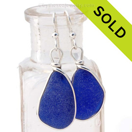 LARGE deeply frosted blue sea glass earrings in our signature Original Wire Bezel©. Sorry this Sea Glass Jewelry selection has been SOLD!