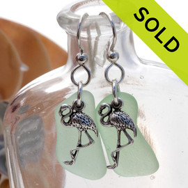 Long Seafoam Green Sea Glass Earrings On Sterling W/ Flamingo Charms
