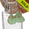 Vivid yellowy seafoam green sea glass earrings in a simple gold setting. SOLD - Sorry these Sea Glass Earrings are NO LONGER AVAILABLE!