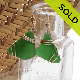 Bright deep green sea glass earrings set in a triple 14K Rolled Gold setting. SOLD - Sorry these Sea Glass Earrings are NO LONGER AVAILABLE!