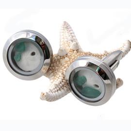 NEW ITEM - Aqua Blue sea glass in mini locket cufflinks with real mini sandollars. Great for a lady or man!