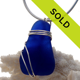 Cobalt Blue Sea Glass In Sterling Triple Wire Necklace Pendant. This setting leaves the sea glass piece UNALTERED but secure in an attractive setting. Sorry this sea glass jewelry piece has been sold!