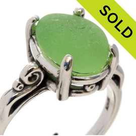 A natural UNALTERED pure bright yellowy lime green sea glass piece set in a sterling silver scroll ring. SOLD - Sorry This Sea Glass Ring Is NO LONGER AVAILABLE!