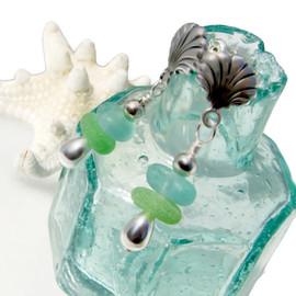 Genuine Aqua & Sea Green Genuine Sea Glass Earring Stacks On Sterling