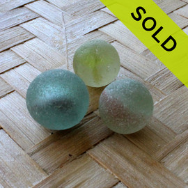 FIRST TIME EVER - Trio of Beach Found Sea Glass Marbles -  LOT 1633