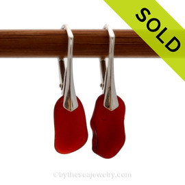 Shaped only by the sea, these vivid ruby red natural sea glass pieces really glow hanging from these solid sterling silver leverback earrings. Sorry this Sea Glass Jewelry selection has been SOLD!