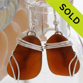 Larger Brown Sea Glass Earrings In Triple Solid Sterling Silver Setting