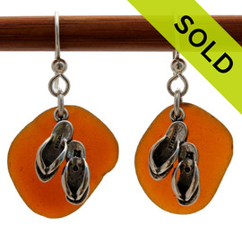 Large Round Amber Sea Glass Earrings On Sterling W/Sea Double Flop Charms