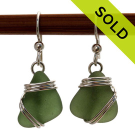 Smaller seaweed green sea glass pieces set in a triple sterling silver for a lovely pair of sea glass  earrings. Sorry this Sea Glass Jewelry selection is NO LONGER AVAILABLE!