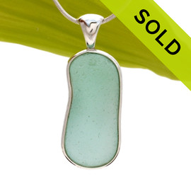 Top quality piece of long and large aqua green Genuine Sea Glass Pendant in our Deluxe Wire Bezel© setting. SOLD - Sorry this Sea Glass Pendant is NO LONGER AVAILABLE!