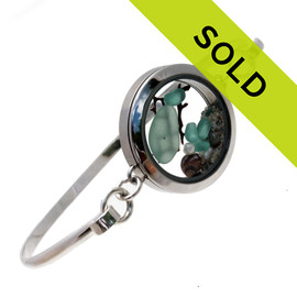 Genuine Sea Glass Locket Bracelet. Sorry this sea glass jewelry piece has been sold!
