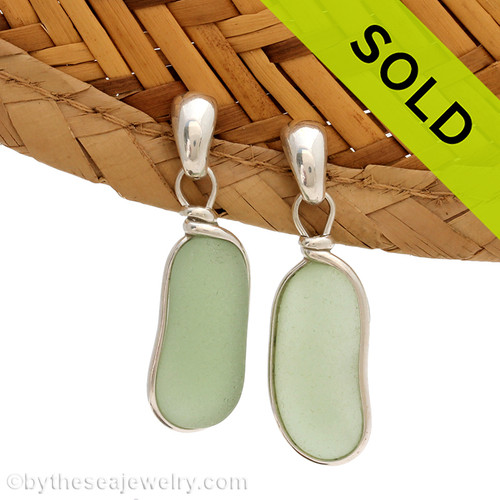 Genuine beach found oblong Seafoam Green Sea Glass Earrings in a Solid Sterling Silver Original Wire Bezel© setting on posts