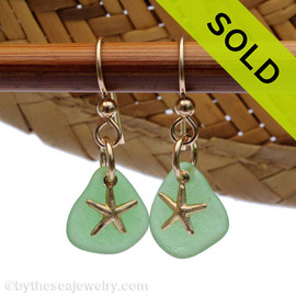 Perfect beach found green sea glass pieces are set with 14K Goldfilled starfish charms on professional grade earring wires. Sold, sorry this Sea Glass Jewelry selection is NO LONGER AVAILABLE!