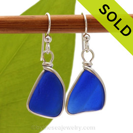 Cobalt blue sea glass pieces set in our Original Wire Bezel© setting.  Sorry these Sea Glass Earrings are no longer available.