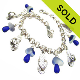 Delft Flip - Genuine Multi Blue Sea Glass W/ Sterling Charm Bracelet