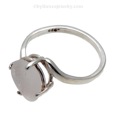 A stunning white sea glass ring perfect for any sea glass lover!