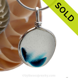 A vivid deep Electric Aqua Mixed English Multi sea glass set for a necklace in our Original Sea Glass Bezel© in solid sterling silver setting. Sorry this amazing piece of Sea Glass jewelry has been SOLD!