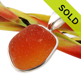 SUPER ULTRA RARE & LARGE Orange English Sea Glass In Deluxe Wire Bezel© (Ultra653)