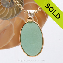 This is our Deluxe Wire design that leaves the glass UNALTERED from the way it was found on the beach.  SOLD - Sorry this Rare Sea Glass Pendant is NO LONGER AVAILABLE!