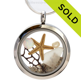 October By The Sea - White Genuine Sea Glass Locket Necklace With Starfish, Pearls & Opal - October Birthstone