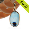 This is a stunning piece of longer mixed blue tricolor EndODay sea glass set in our Original Wire Bezel© pendant setting in gold. Classic and timeless. SOLD - Sorry this Ultra Rare Sea Glass Pendant is NO LONGER AVAILABLE!