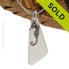 "Larger White Angular Sea Glass Necklace With LARGE Seahorse Charm - 18"" Solid Sterling CHAIN INCLUDED"