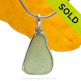 A neat triangular seafoam green natural sea glass in my Original Sterling Wire Bezel© a simple design that lets all the beauty of this glass shine.  Sorry this Sea Glass Necklace Pendant is NO LONGER AVAILABLE!